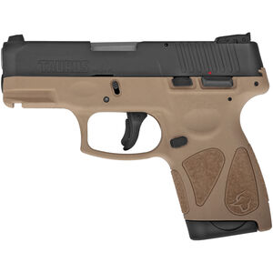"Taurus G2S Slim 9mm Luger Semi Auto Pistol 3.2"" Barrel 7 Rounds Single Action with Restrike 3 Dot Sights Thumb Safety Tan Polymer Frame Black Finish"