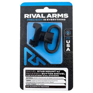 "Rival Arms Picatinny Push Button QD Sling Swivel Stud Mount 1.5"" Sling Loop 6061 Aluminum/Steel Black Finish"
