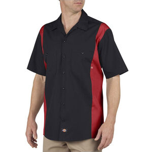 Dickies Men's Industrial Color Block Short Sleeve Shirt XL Black/English Red
