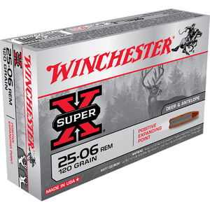 Winchester Super X .25-06 Rem Ammunition 20 Rounds, PEP, 120 Grains