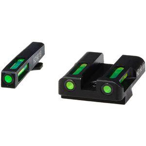 HiViz LITEWAVE H3 GLOCK 10mm/.45 ACP/.45 GAP Green Tritium Fiber Optic Night Sight Set Steel Black