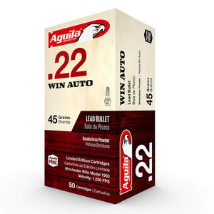 Aguila Limited Edition Ammunition .22 Win Auto 50 Rounds 45 Grain Lead Bullet 1030fps