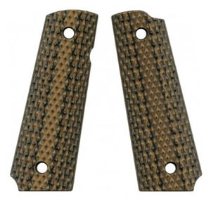 VZ Custom Gun Grips Full Size 1911 Diamond Back Very Aggressive Texture G10 Hyena Brown