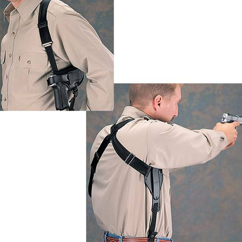 "Uncle Mike's Sidekick Cross Harness Horizontal 4.5""-5"" Barrel Large Frame Semi Autos Shoulder Holster Ambidextrous Nylon Black 8705-0"
