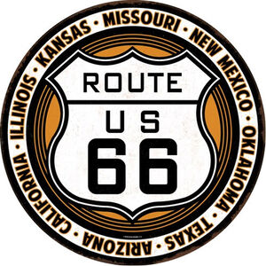"""Open Road Brands """"Route 66"""" Embossed Tin Sign 12""""x12"""""""