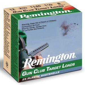 "Ammo 12 Gauge Remington Gun Club Target Loads 2-3/4"" #8 Lead 1-1/8 Ounce 1200 fps 250 Rounds GC128"