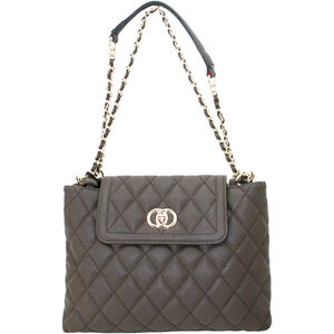 "Cameleon Coco Purse with Concealed Carry Gun Compartment 13""x8""x3"" Quilted Synthetic Leather Brown"