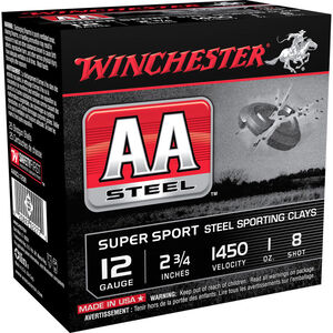 "Winchester USA AA Steel 12 Gauge Ammunition 2-3/4"" #8 Steel Shot 1 oz 1450 fps"