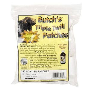 "Butch's Triple Twill Patches 7mm to .35 Caliber Rifle 1-3/4"" Square 750 Patches"