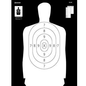 "Action Target B-34R Reverse Qualification Target 25 Yard 17.5"" x 23"" Paper Black/White 100 Pack"