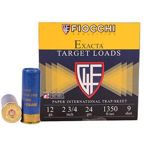 "Fiocchi Exacta Target Line International 12 Gauge Ammunition 25 Rounds 2-3/4"" 9 Shot 24 Gram Lead 1350fps"