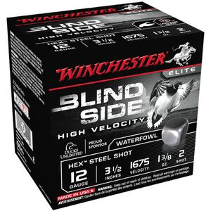 "Winchester Blind Side 12 Ga 3.5"" #2 Hex Steel 25 Rounds"
