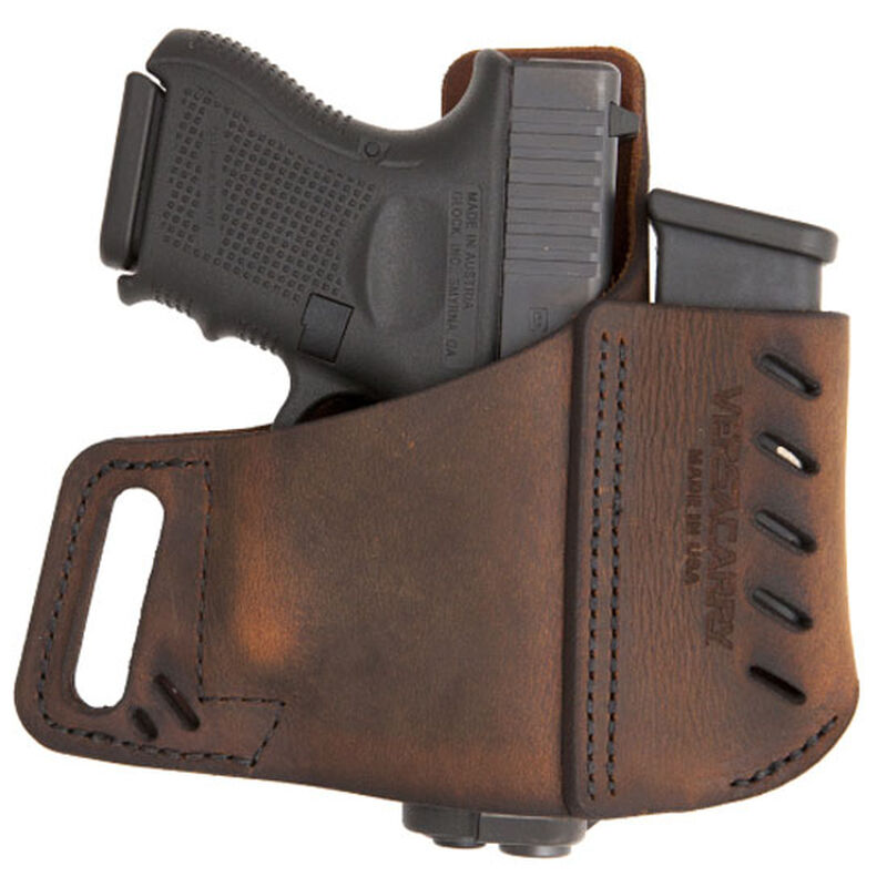 VersaCarry Commander OWB Holster With Magazine Carrier Size 3 Right Hand Leather Brown 62103