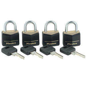 Master Lock No. 121Q Covered Solid Body Padlocks, 4 Pack, Keyed Alike 121Q