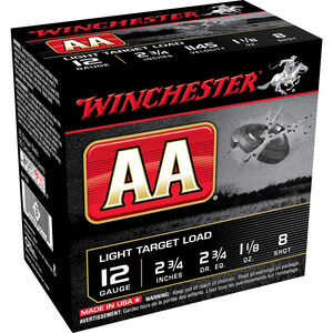 "Winchester AA Light Target 12 Gauge Ammunition 25 Rounds 2.75"" #8 Lead 1.125 Ounce AA128"