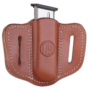 1791 Gunleather Single Stacked Magazine Single Magazine Pouch 1.1 OWB Ambidextrous Leather Classic Brown