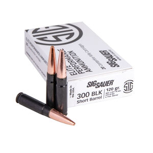 SIG Sauer Elite Performance .300 AAC Blackout Ammunition 20 Rounds 120 Grain Jacketed Hollow Point Copper Projectile 1897fps