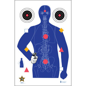"""Action Target SSO-99 Sarasota Sheriff's Office Modified B-21E Target with Vital Anatomy 23"""" x 35"""" Blue Silhouette/Vitals 100 Count"""
