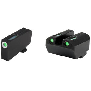 TruGlo TFX Suppressor Height GLOCK 10mm/.45 ACP/.45 GAP Front/Rear Day/Night Sight Set Green Tritium 3-Dot Configuration Front White Focus Lock Ring Square Cut Rear Notch Steel Black