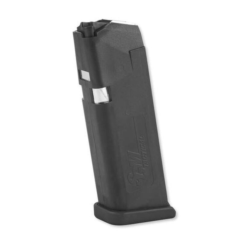 SGM Tactical Magazine For GLOCK 19/26 9mm Luger 15 Rounds Metal Lined Polymer Matte Black SGMTMG19
