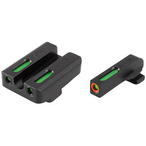 TRUGLO TFX Pro Springfield XD/XDm/XDs/Mod2  Front and Rear Set Green TFO Night Sights Orange Ring Steel Black TG13XD1PC