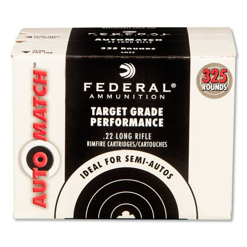 Federal AutoMatch .22LR Ammunition 325 Rounds 40 Grain Lead Round Nose 1200fps