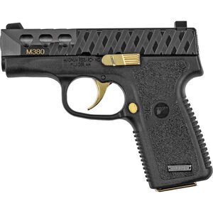 """Magnum Research M380 .380 ACP Subcompact Semi Auto Pistol 3"""" Barrel 7 Rounds Black Polymer Frame Black Finish with Gold Accents"""