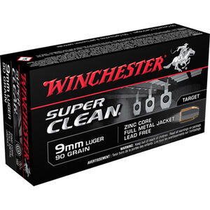 Winchester Super Clean 9mm Luger Ammunition Lead Free FMJ 90 Grain 1325 fps