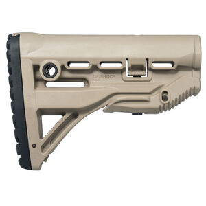 FAB Defense AR-15 Shock Absorbing Buttstock Mil-Spec and Commercial Tubes Polymer FDE