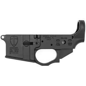 Spikes Tactical AR-15 Forged Stripped Lower Receiver Multi Caliber Forged Tactical Crusader Non-Color Filled Aluminum Black STLS022