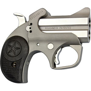 "Bond Arms Roughneck 9mm Luger Derringer 2.5"" Stainless Steel Barrels Fixed Sights Rubber Grip Matte Stainless Steel Finish"