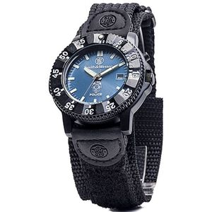 Smith & Wesson Men's Police Watch with Nylon Strap Water Resistant S&W Logo Police Logo Blue Face SWW-455P