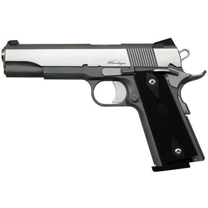 """Dan Wesson 1911 RZ-45 Heritage Government Semi Auto Pistol .45 ACP 5"""" Barrel 8 Rounds Fixed Sights Rubber Grips Stainless Steel Polished/Matte Finish"""