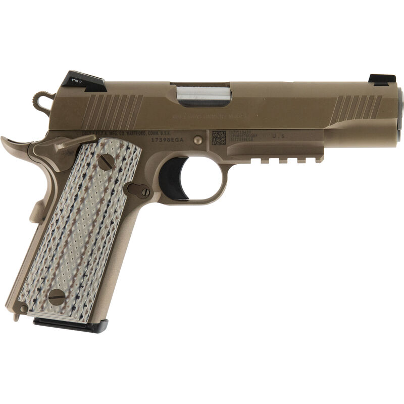 "Colt M45A1 1911 Semi Auto Handgun .45 ACP 5"" Barrel 7 Rounds Government Profile with Accessory Rail G10 Grips Decobond Brown Finish"