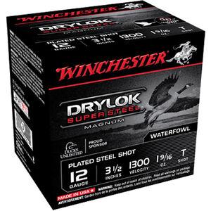 """Winchester Drylok Super Steel 12 Gauge Ammunition 25 Round Box 3-1/2"""" T Plated Steel Shot 1-9/16 oz 1300 fps"""