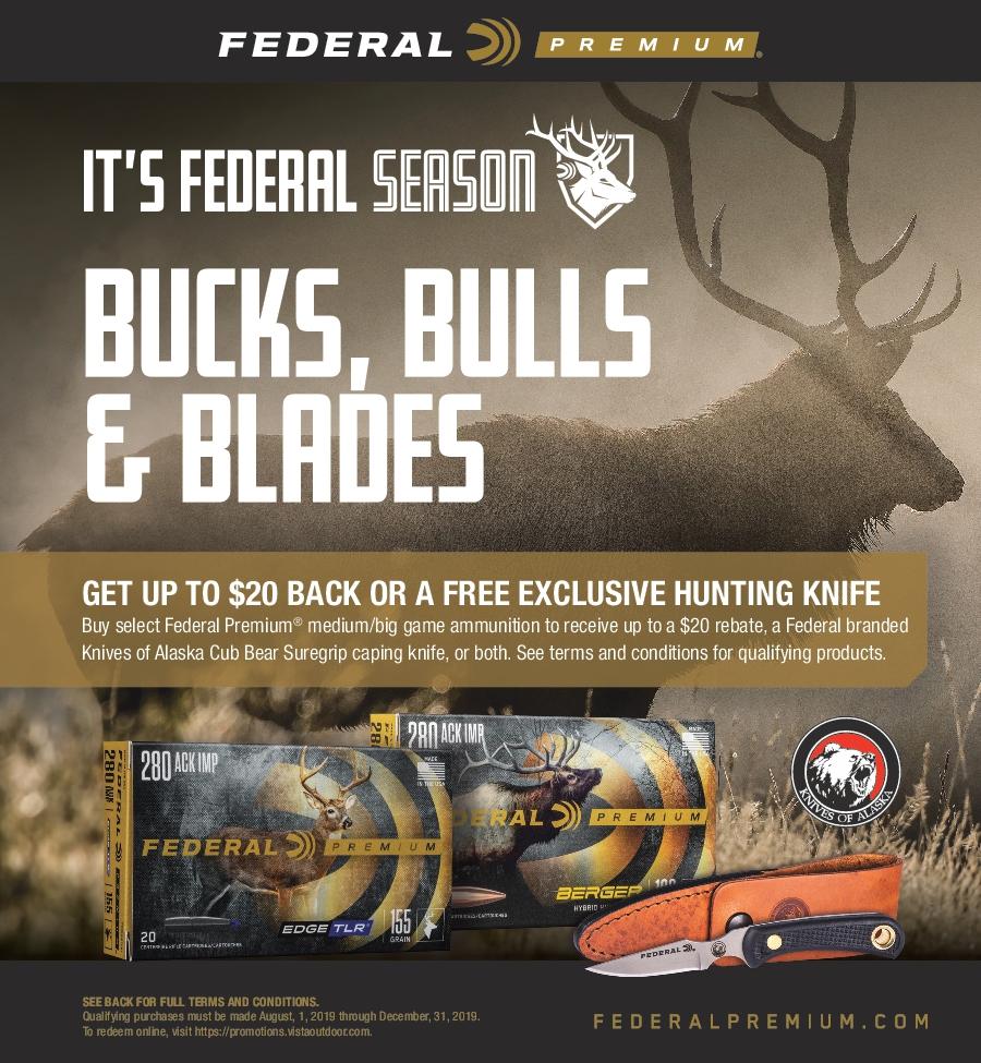 Federal Bucks, Bulls, and Blades Ammunition Rebate