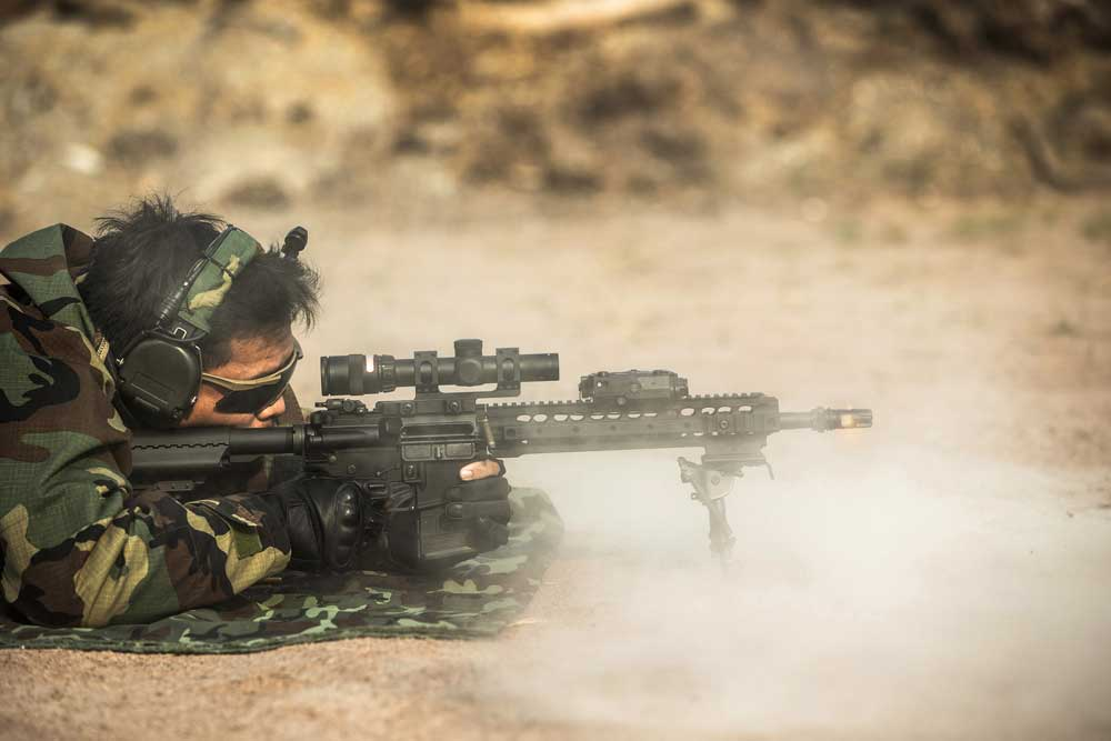 Prone rifle shooting stance