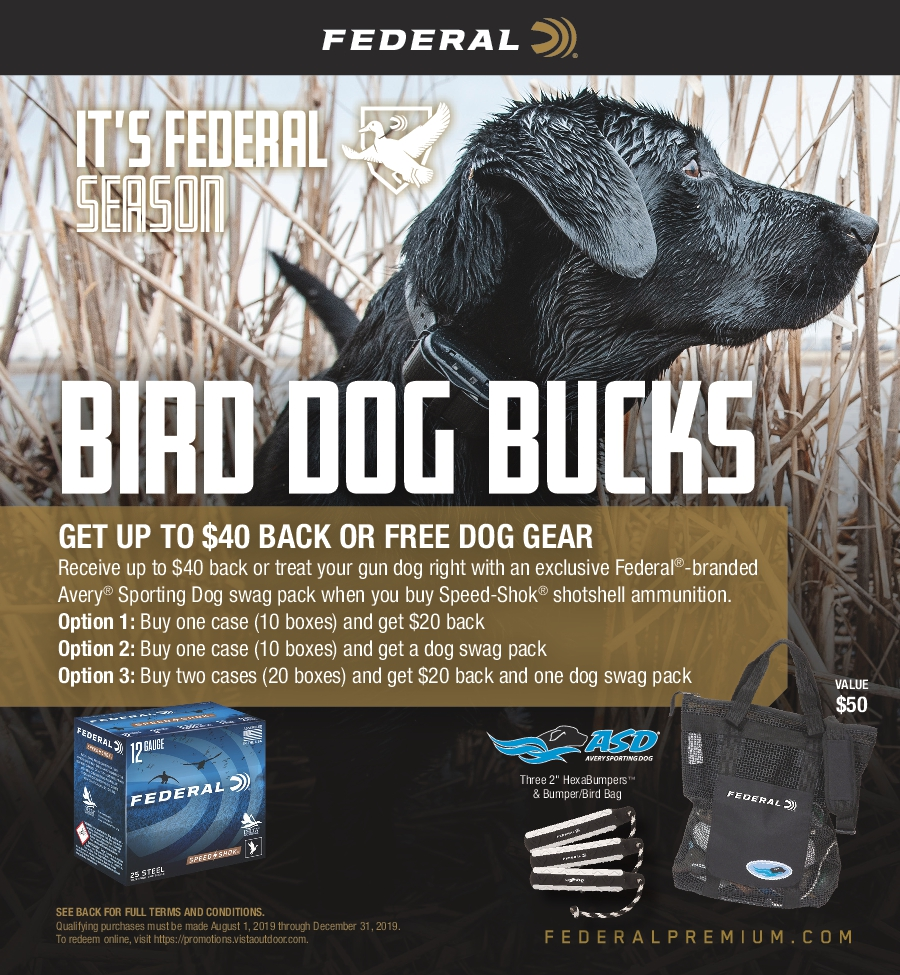 Federal Bird Dog Bucks Ammunition Rebate