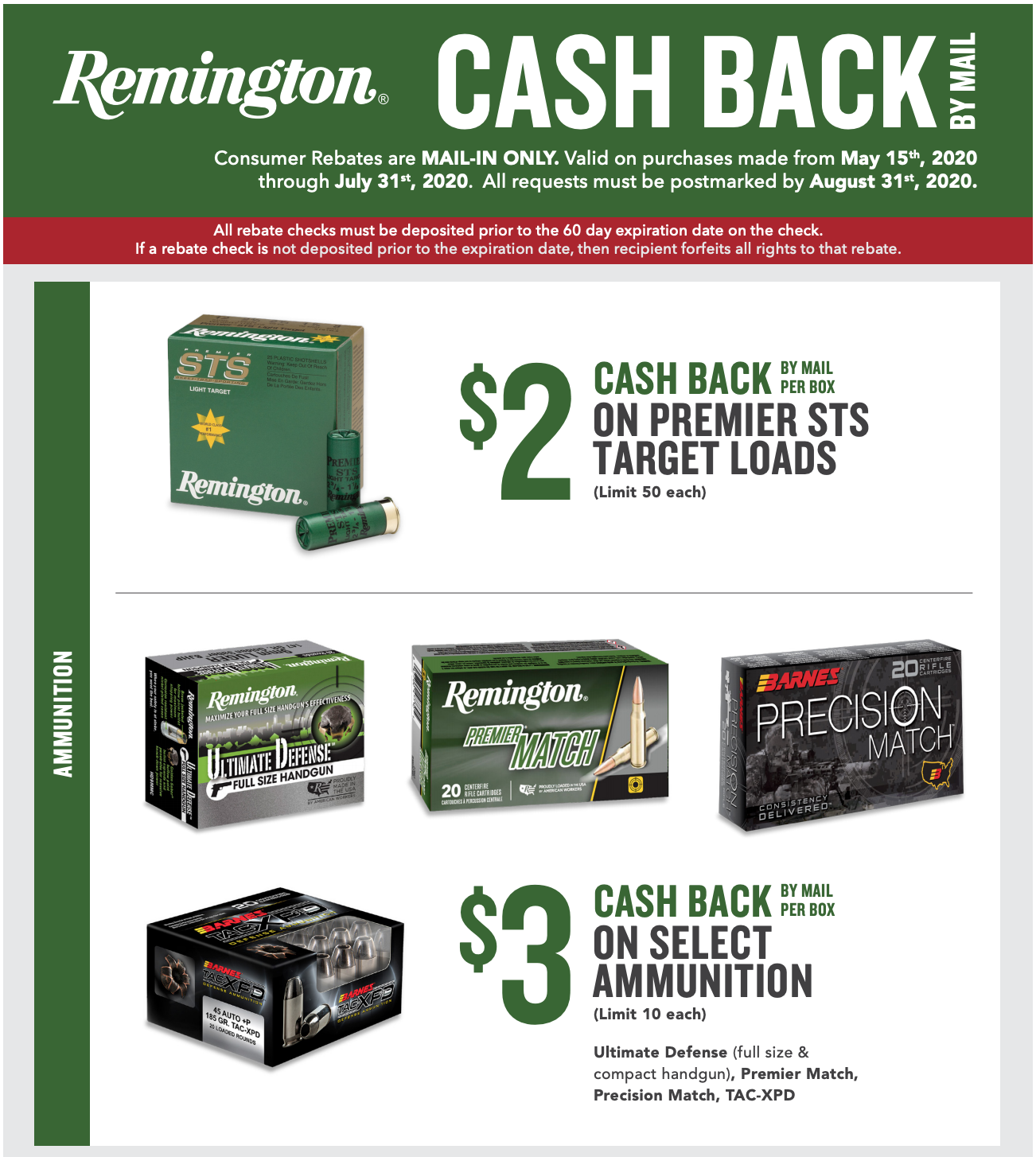 Remington Summer 2020 Ammunition Rebate