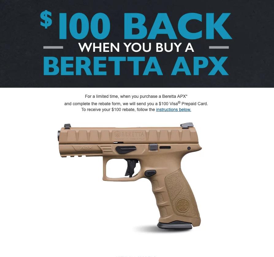 Beretta APX handgun rebate