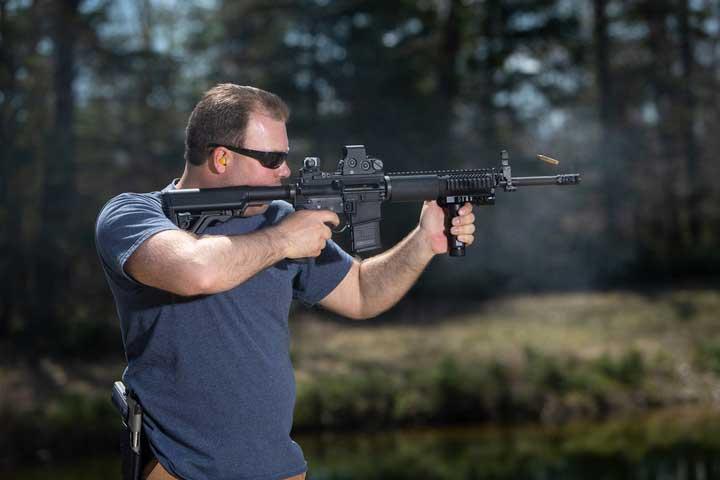 Standing rifle shooting stance